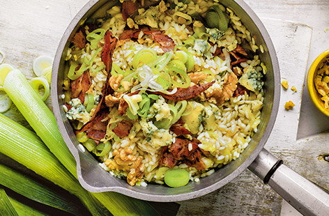 Leek and blue cheese risotto
