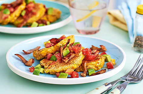 These sweetcorn pancakes, topped with crisp bacon, tomato and avocado, are not only packed with flavour, but they are great for getting little ones in the kitchen. On the table in less than half an hour, this super easy supper is also even healthy