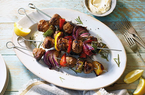 Throwing a barbecue? These meatball and Mediterranean vegetable kebabs are sure to be a real crowd-pleaser but are so easy to make, you could rustle them up for a speedy dinner any time the sun is shining.