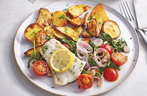 For a fuss-free family dinner that's healthy too, try this easy Mediterranean fish traybake recipe with zesty roasted veg and golden potato wedges.