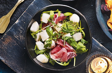 Melon and Parma ham bowls