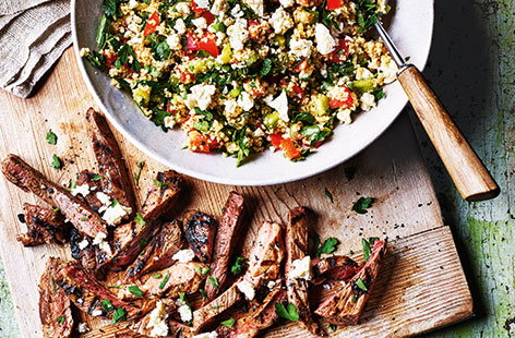 Minted lamb with couscous salad