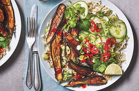 Rice bowls are a great way to pack colourful veg into your cooking and this sweet and sticky miso aubergine version is no exception
