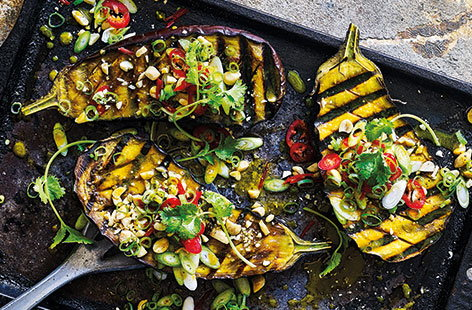 Derek Sarno's vegan miso glazed aubergines are perfect for the barbecue and inspired by Asian flavours.