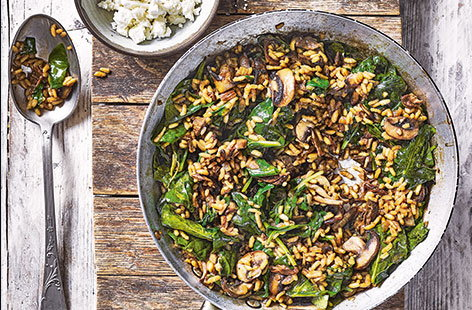 Risotto is a wonderfully versatile dish – this gluten- and meat-free version channels the nutty flavours of a classic Italian porcini mushroom risotto but with a tasty Greek feta twist.