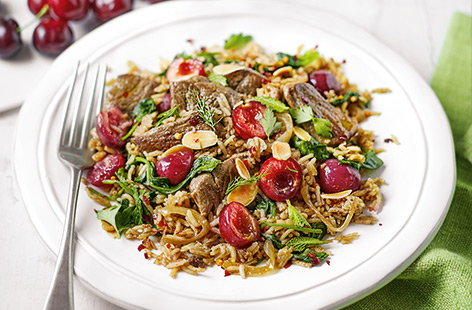 One-pot lamb and cherry pilaf