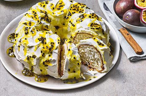 Orange angel food cake with passion fruit syrup