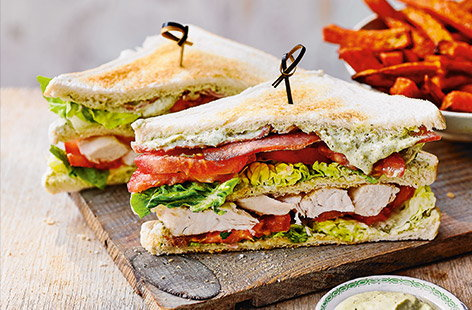 Pesto club sandwiches
