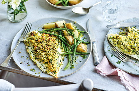 Plaice is a delicately flavoured white fish that is great to try in place of your usual cod or haddock. This quick herb-crusted plaice recipe is an easy way to cook it for a tasty midweek supper.