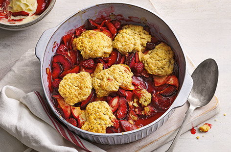 How to make a plum and berry cobbler