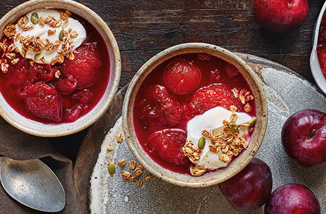 Plum and apple compote
