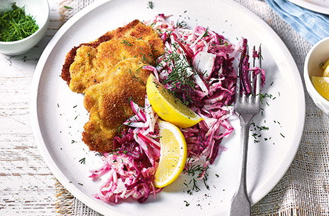 Pork schnitzels with beetroot slaw