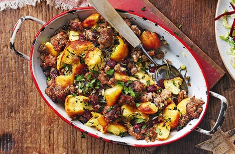 Leftover crispy roast potatoes and stuffing are great for turning into a quick and easy hash that's the ideal dish for Boxing Day feasting