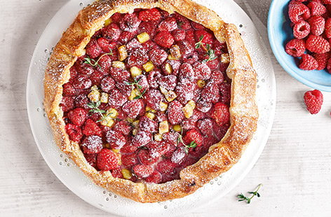 Raspberry and marzipan galette