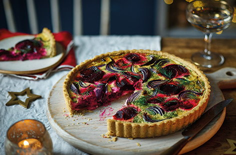 Red onion and beetroot quiche