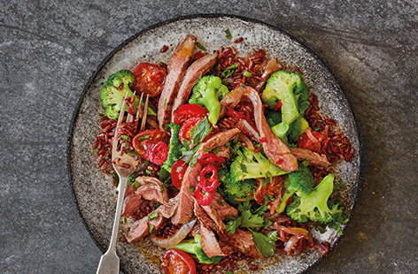 Spiced red rice and lamb