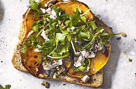 Roast butternut squash with rocket and seeds toast topper