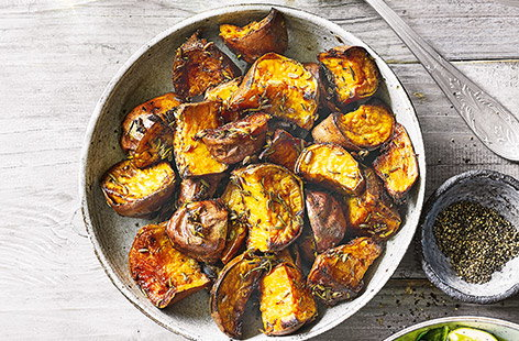 Simply prepared with olive oil, lemon zest and a couple of sprigs of rosemary, this recipe for sweet potatoes should bring any roast dinner to life. Crisp and caramelised on the outside yet still fluffy in the middle, they really are the perfect side.