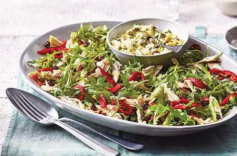 Roasted pepper and chicken salad with coronation dressing