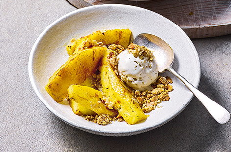Give classic crumble a makeover with juicy pineapple, perfect for adding a tropical twist to your favourite dishes