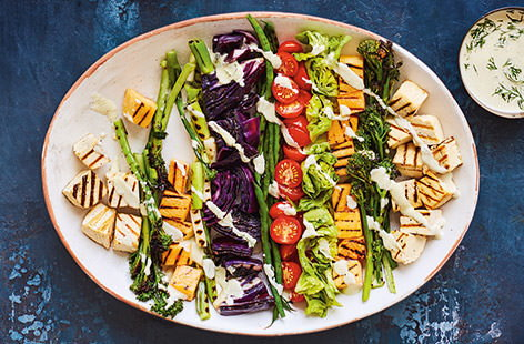 Derek Sarno, Executive Chef for Tesco, has created this vibrant vegan salad recipe as a brilliant summer sharing platter everyone can enjoy. Full of colour, texture and a wicked cashew dressing this feast of a salad is great for using up veg.