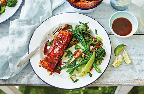 Rum-glazed salmon with wedges and chilli greens