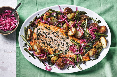 One-tray roasted salmon with spring veg