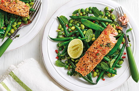 Salmon, green beans and peas