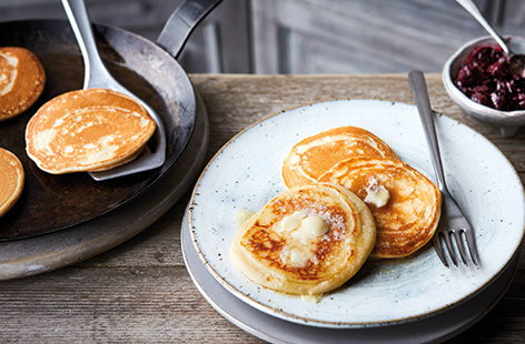 Light and fluffy Scotch pancakes (also known as drop scones) are the perfect teatime treat or an easy weekend breakfast – ready in just 20 minutes. Serve warm or cold, plain or topped with butter and jam.