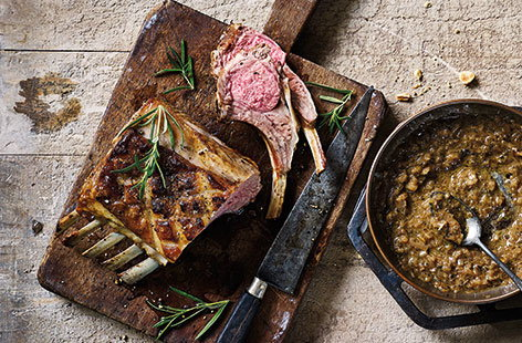 Roast rack of lamb with shallot sauce