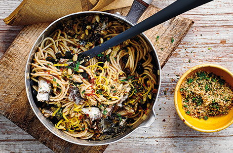 This classic spaghetti recipe perfectly captures Sicilian cuisine, combining rich sardines with sweet raisins and buttery pine nuts