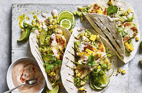 Smashed avocado and halloumi breakfast tacos