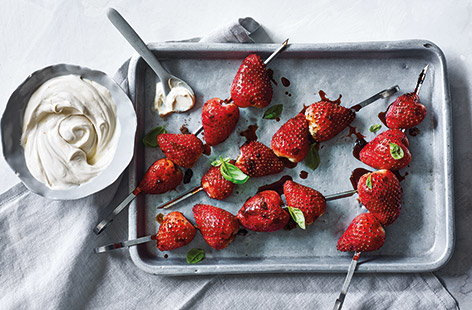 Smoky strawberry skewers