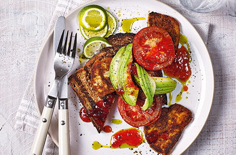 For a quick vegetarian breakfast that's ideal for treat, look no further than this spicy halloumi fry-up recipe