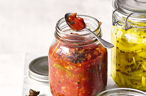 This fiery tomato relish really packs a punch, combining sweet red onions and cherry tomatoes with spicy ginger and chilli, and would taste great with chicken or pork, or even as a side dish to your favourite curry.