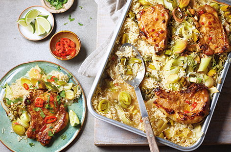 Spicy pork chop traybake