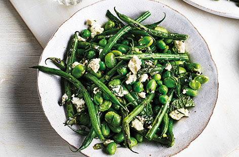 Spring beans and peas with feta