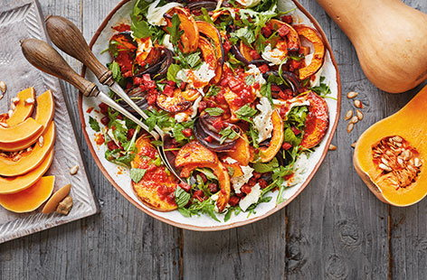 Butternut squash is a great addition to this colourful, peppery salad with creamy mozzarella, sweet red onions and smoky chorizo.