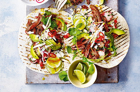 Ready in just 20 minutes, these speedy steak tacos are great for alfresco family dinners