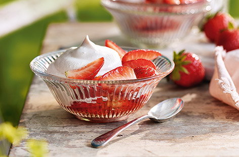 This elegant summer dessert gives classic strawberries and cream a grown-up twist. Creamy rosé syllabub is easy to whip together and is paired with juicy macerated strawberries, soaked in a sweet and boozy rosé syrup.