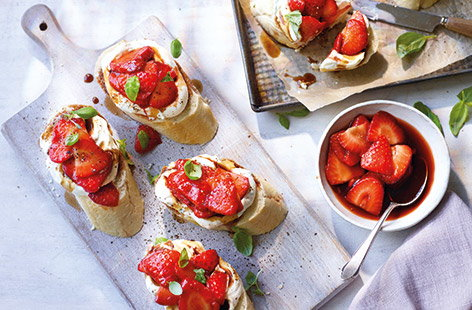 Strawberry open sandwiches