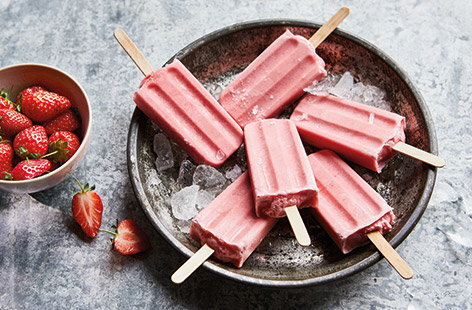 Vegan strawberry ice lollies