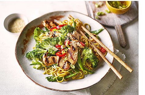 Inspired by Japanese cooking, these sweet and tangy teriyaki noodles are a great midweek pick up meal to see you through to the weekend.