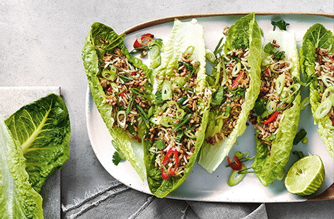 This speedy Thai pork recipe is ready in just 30 minutes for an easy, healthy dinner. Crisp lettuce leaves are filled with rice and pork cooked in fresh Thai flavours of fiery ginger, red chilli and lemongrass.