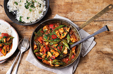 Skip the takeaway – this classic Thai red curry recipe is simple to make at home. Red peppers and sugar snaps are added alongside the tender chicken for an extra helping of veg, plus this delicious one-pot dinner is ready in just 30 minutes.