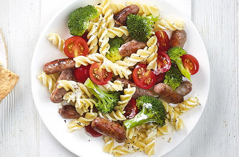 'Tiny tree' and sausage pasta