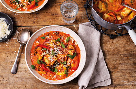 Make a packet of pasta go further with this colourful tortellini vegetable soup. A super-creamy tomato soup is filled with spinach, sweet red peppers and cheesy tortelloni pasta for a hearty and healthy one-pot meal.