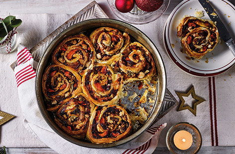 Do more than sandwiches with your Christmas leftovers this year and bake a batch of hearty turkey Chelsea buns. Filled with tender turkey, colourful roast veg and stuffing, these are an easy way to feed the family in between Christmas and New Year.