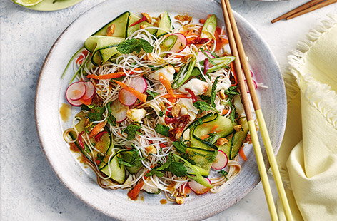 This colourful noodle salad recipe with crab and crisp vegetables is the ultimate speedy dinner idea for two
