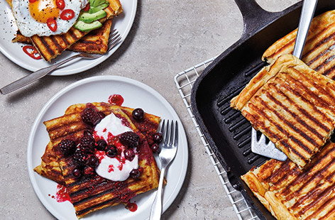 No waffle iron? No problem. These easy griddle pan waffles are super simple to make at home for a breakfast or brunch treat any time. You can whip up this easy waffle batter using staple ingredients, then add whatever toppings you like, sweet or savoury.